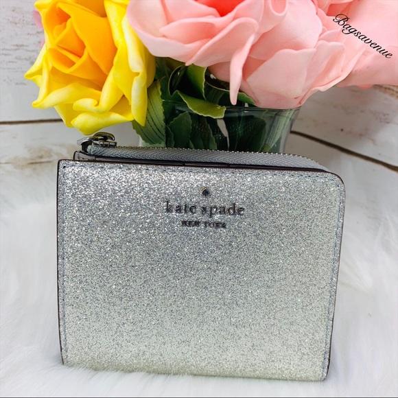 kate spade Handbags - boxed small l-zip silver wallet glitter joeley